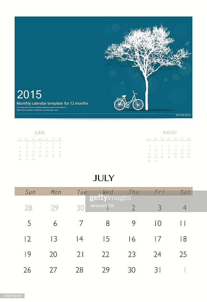 2015 calendar, monthly calendar template for July.