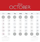 2016 calendar, monthly calendar template for October.
