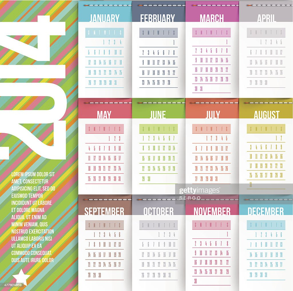 Calendar of 2014 with stitched labels