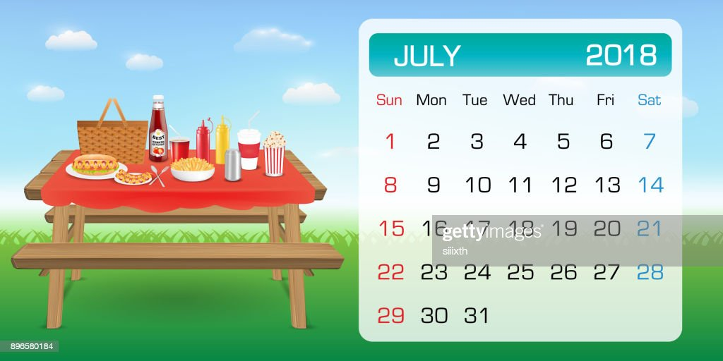 calendar of JULY 2018 month theme outdoor picnic