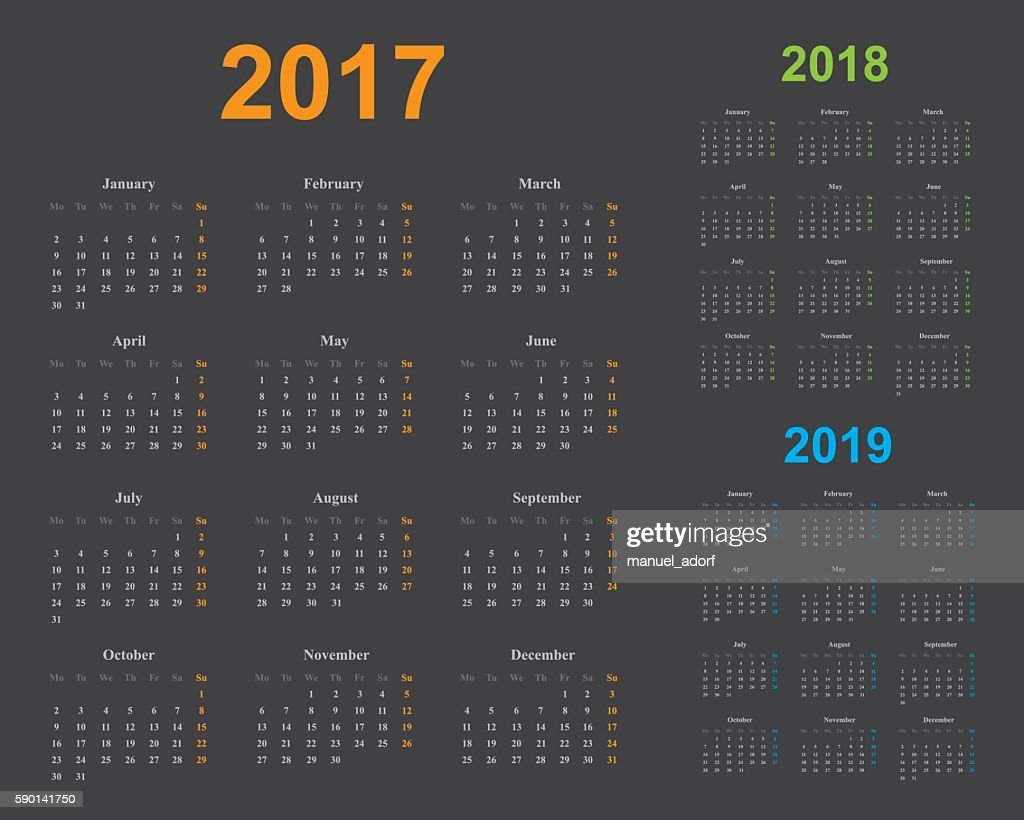 calendar of years 2017, 2018, 2019, light colors, gray background