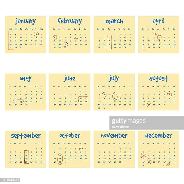 2017 Calendar on adhesive notes
