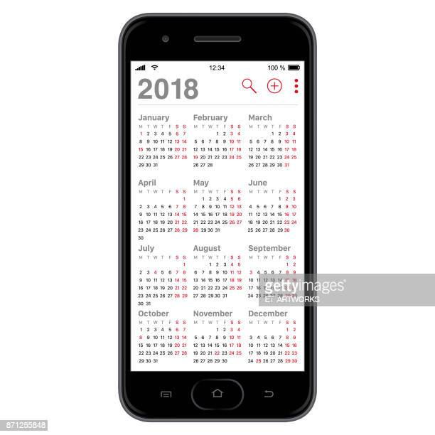 2018 calendar on smartphone - office safety stock illustrations, clip art, cartoons, & icons