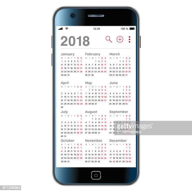 2018 Kalender auf Smartphone