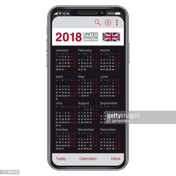 2018 UK Kalender auf Smartphone