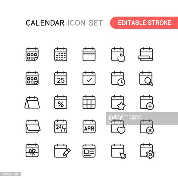 calendar outline icons editable stroke - event stock illustrations