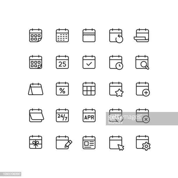 calendar outline icons - event stock illustrations