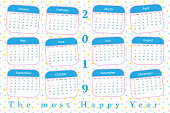 2019 calendar pastel color with star pattern background1
