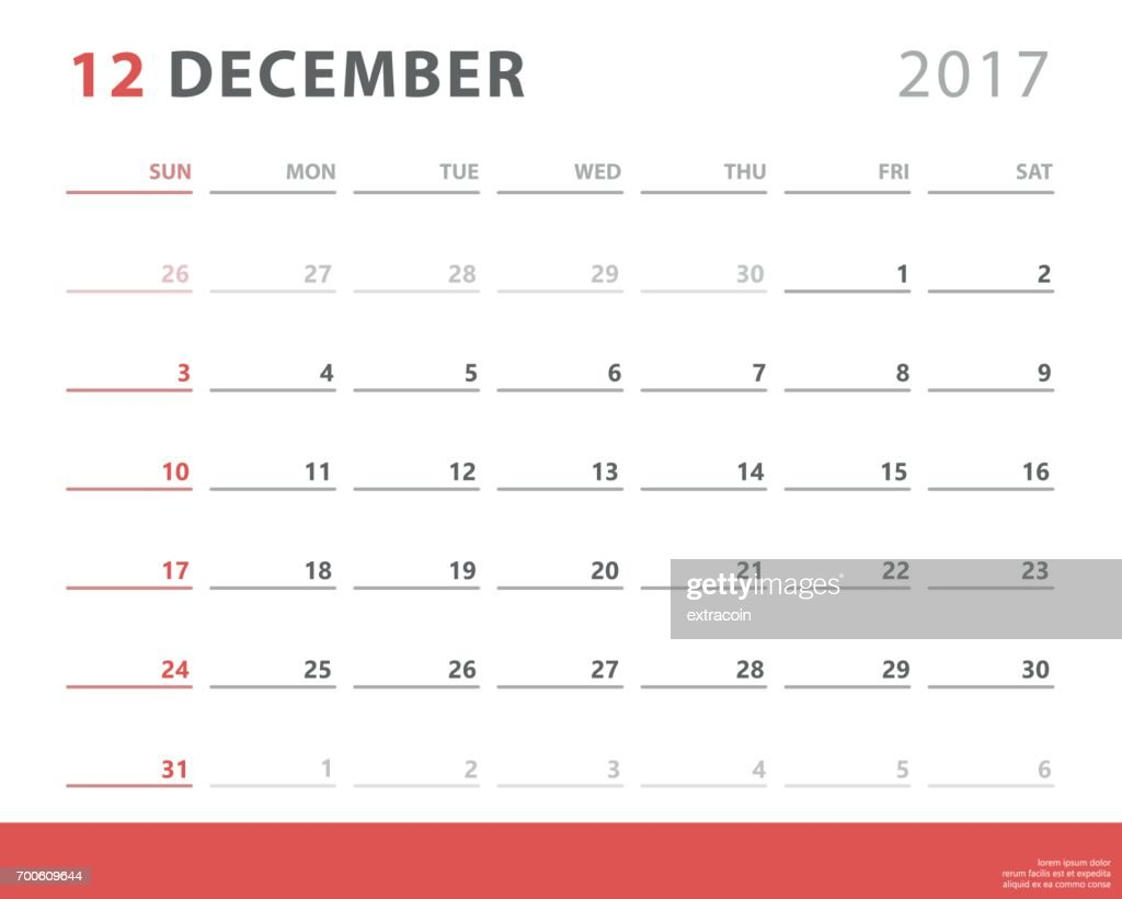 Calendar planner 2017 december, week starts sunday, vector design template