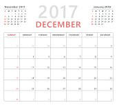 Calendar planner 2017 december, week starts sunday, vector design template