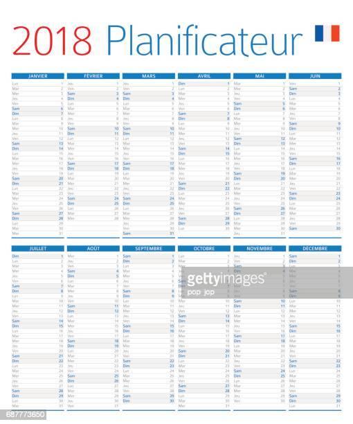 ilustraciones, imágenes clip art, dibujos animados e iconos de stock de calendario planificador 2018 - versión francesa - cultura francesa