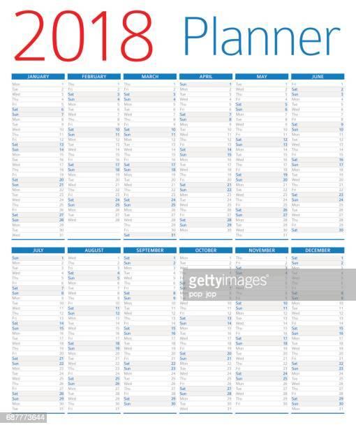 kalender planer 2018 - 2018 stock-grafiken, -clipart, -cartoons und -symbole