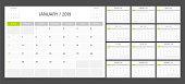 Calendar planner 2019 design template week start on Sunday.