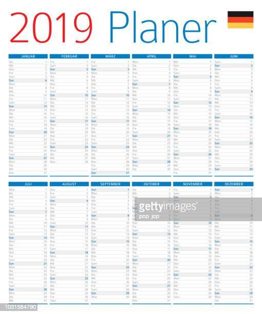 kalender planer 2019. deutsche version - 2019 stock-grafiken, -clipart, -cartoons und -symbole