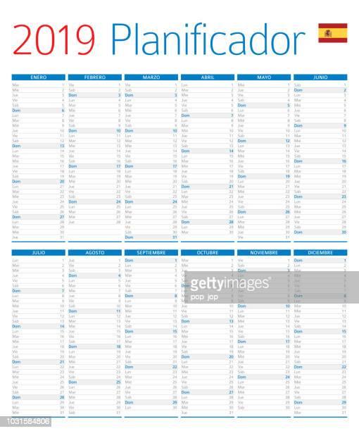 ilustrações de stock, clip art, desenhos animados e ícones de calendar planner 2019. spanish version - 2019