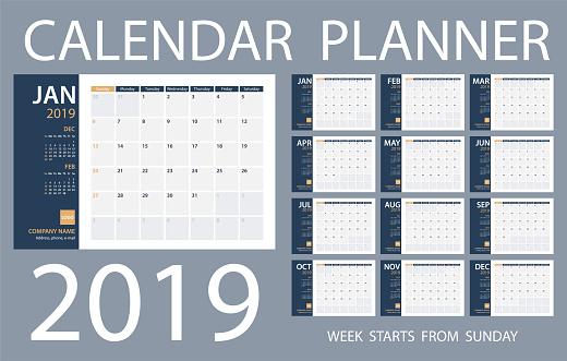 Calendar Planner 2019 - Vector Template. Days start from Sunday - gettyimageskorea
