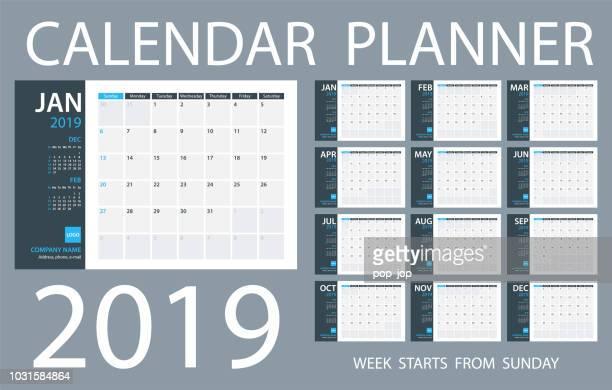 calendar planner 2019 - vector template. days start from sunday - vertical stock illustrations, clip art, cartoons, & icons