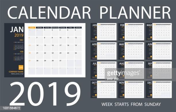 calendar planner 2019 - vector template. days start from sunday - august stock illustrations