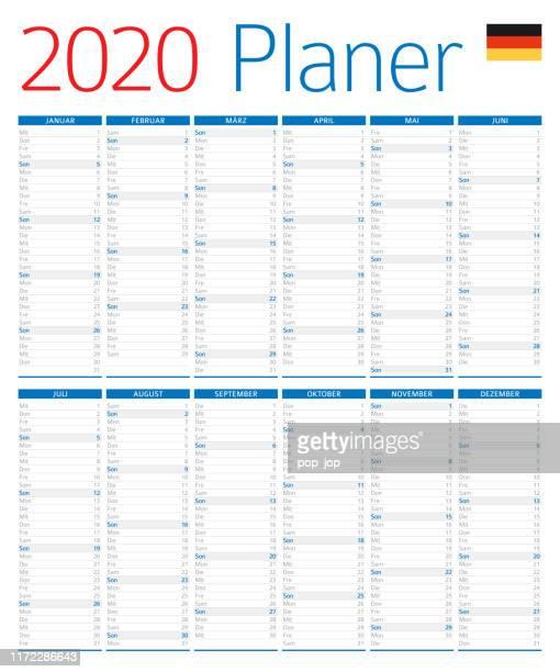 kalender-planer 2020. deutsche version - 2020 stock-grafiken, -clipart, -cartoons und -symbole