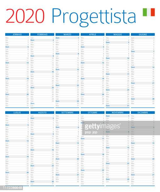 illustrazioni stock, clip art, cartoni animati e icone di tendenza di calendar planner 2020. versione italiana - composizione verticale