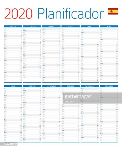 ilustrações de stock, clip art, desenhos animados e ícones de calendar planner 2020. spanish version - 2020