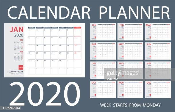 calendar planner 2020 - vector template. days start from monday - 2020 stock illustrations