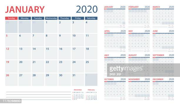 calendar planner 2020 - vector template. days start from sunday - august stock illustrations