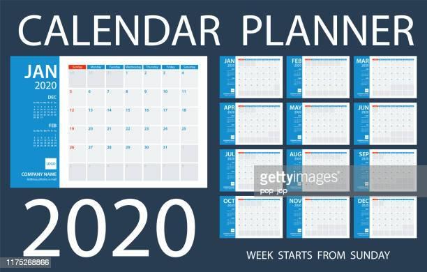 calendar planner 2020 - vector template. days start from sunday - 2019 calendar background stock illustrations