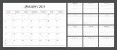 Calendar planner 2021 design template week start Sunday.