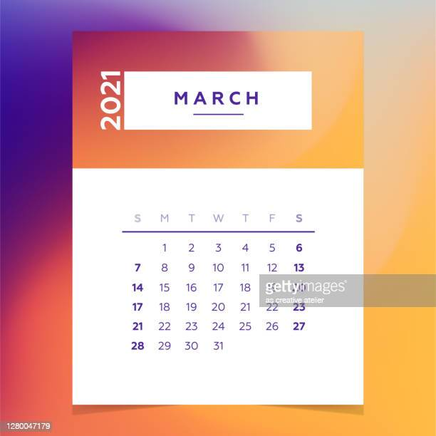 calendar planner 2021 - march month colorful vector template. - tuesday stock illustrations