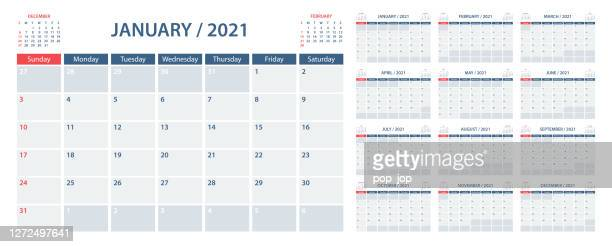 calendar planner 2021 - vector template. week starts on sunday - 2021 stock illustrations