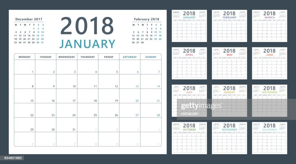 calendar planner for 2018 starts monday, vector calendar design 2018 year