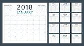calendar planner for 2018 starts monday, vector calendar design 2018 year