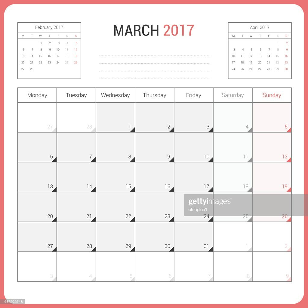 Calendar Planner for March 2017