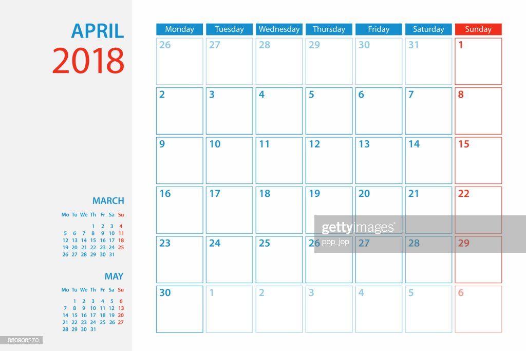 calendar planner template 2018 april week starts monday vector art