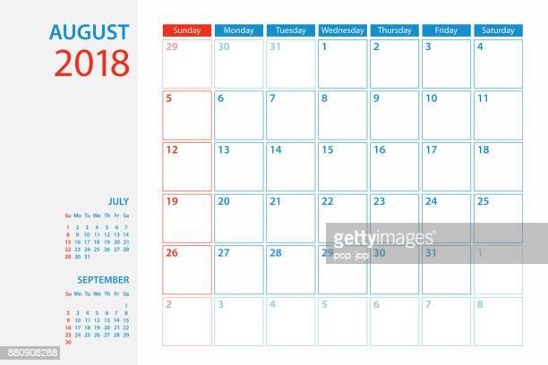 Calendar Planner Template 2018 August. Week starts Sunday