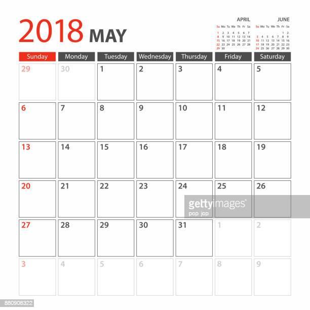 Kalendervorlage Planer 2018 kann. Woche beginnt Sonntag