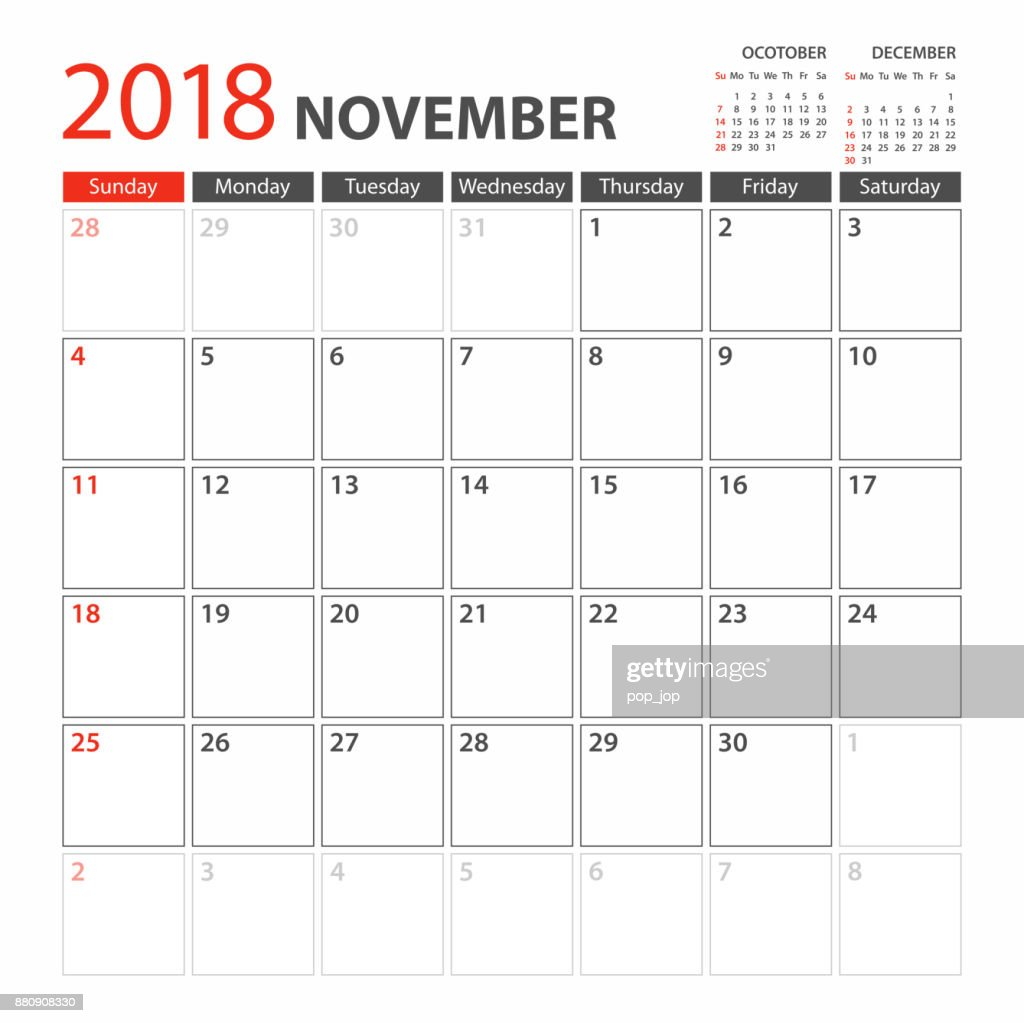 Calendar Planner Template 2018 November Week Starts Sunday Vector