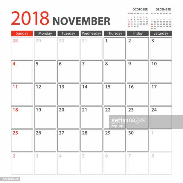 Calendar Planner Template 2018 November. Week starts Sunday