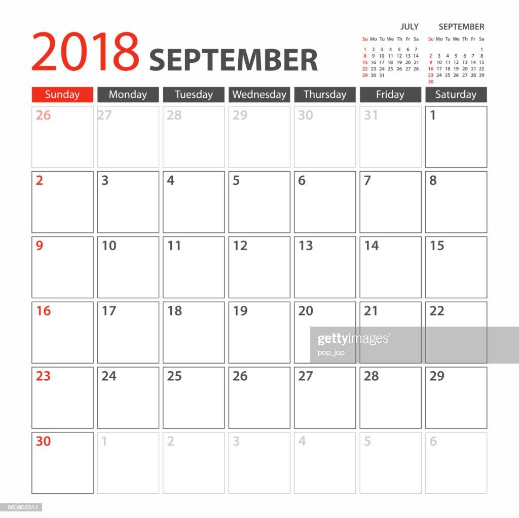 Calendar Planner Template 2018 September. Week starts Sunday