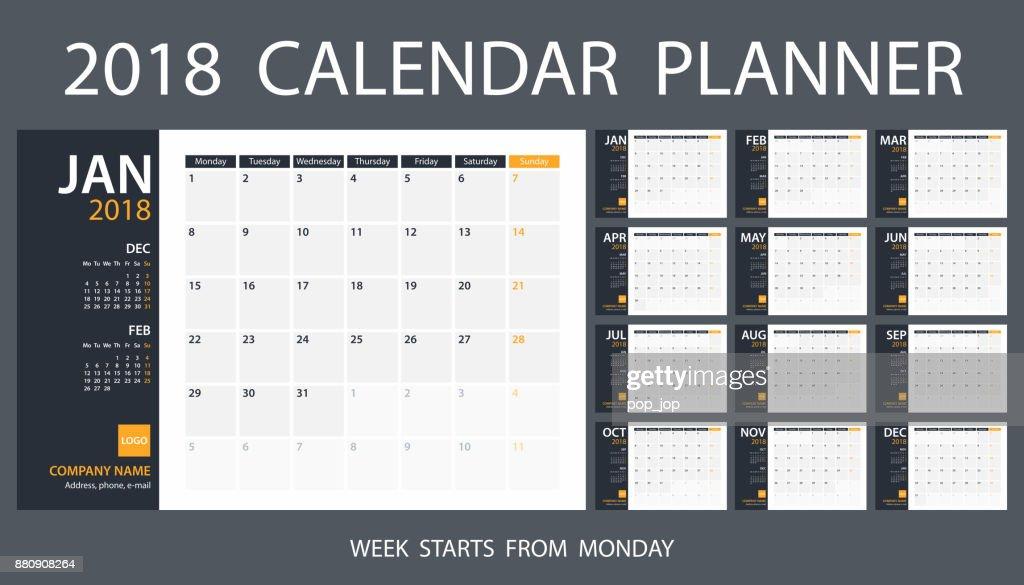 Calendar Planner Template 2018. Week starts Monday