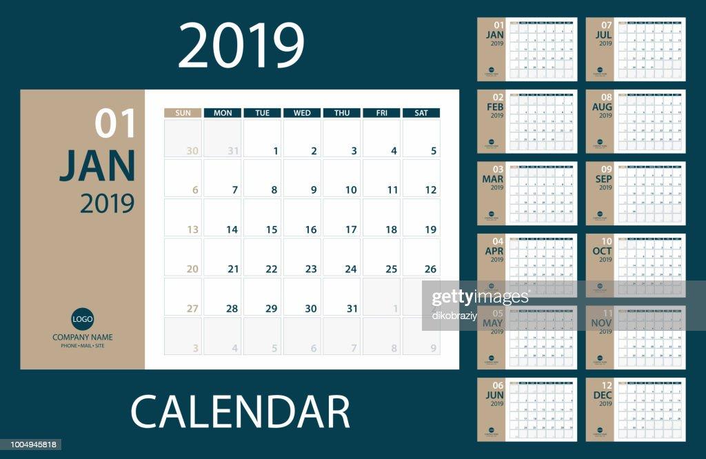 2019 Calendar Planner - vector illustration. Template. Mock up.