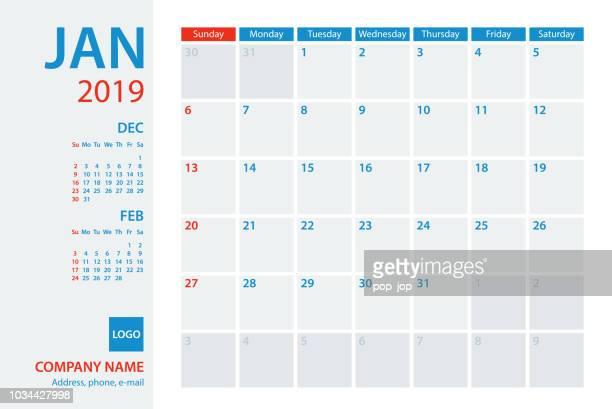 Calendar Planner Vector Template 2019 January. Week starts Sunday