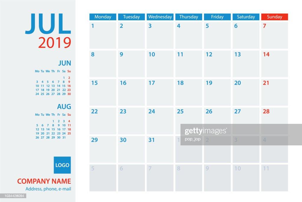 Template Calendrier 2019.Calendar Planner Vector Template 2019 July Week Starts