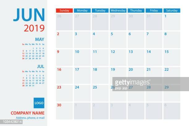 Calendar Planner Vector Template 2019 June. Week starts Sunday