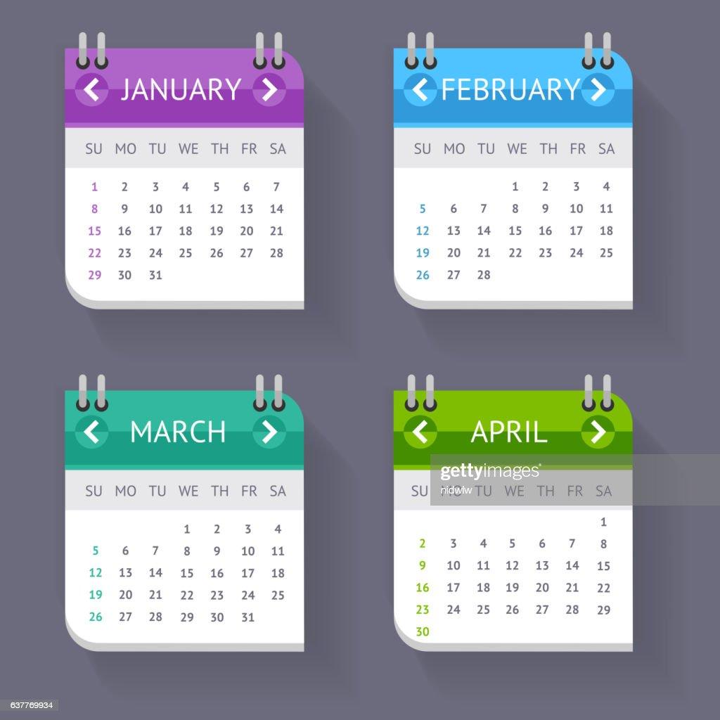 Calendar Quarter Month Set. Vector