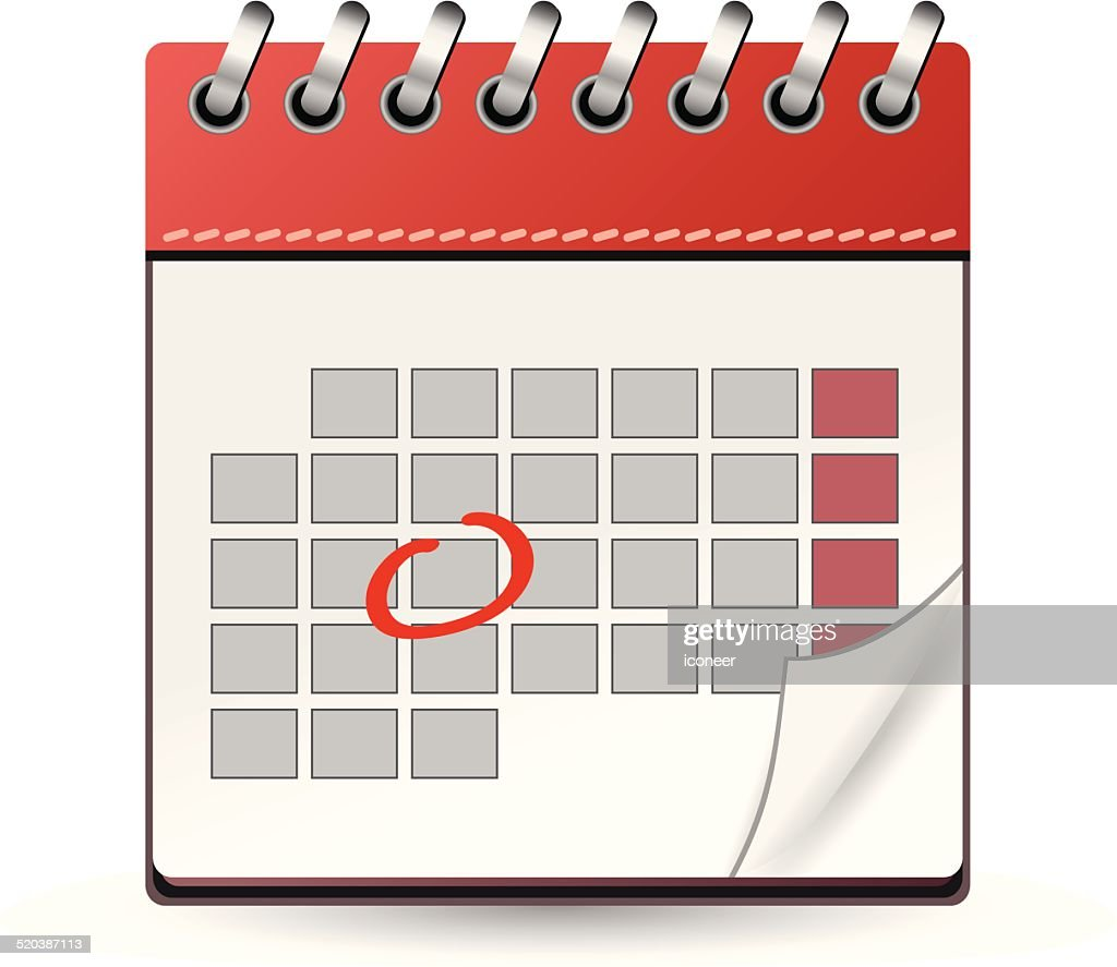 Calendar red with one day marked : stock illustration