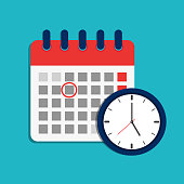 Calendar schedule and clock icon. Time appointment, reminder date concept. Flat organizer, timesheet, time management with alarm clock. Calendar and timer for business, shool, event holiday. vector