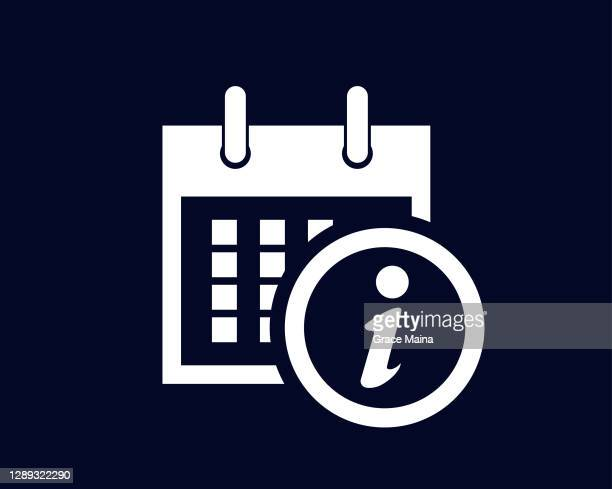 calendar showing days of the month with letter i or information symbol in a circle - information symbol stock illustrations