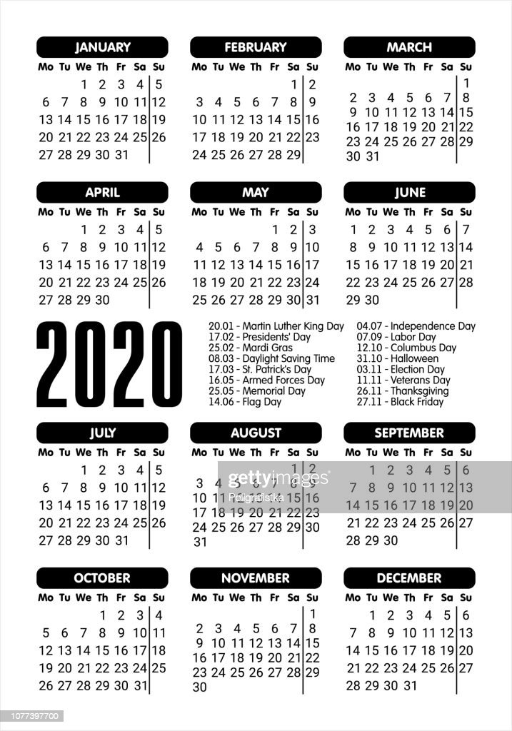 2020 Calendar Starting Monday stock illustration - Getty Images